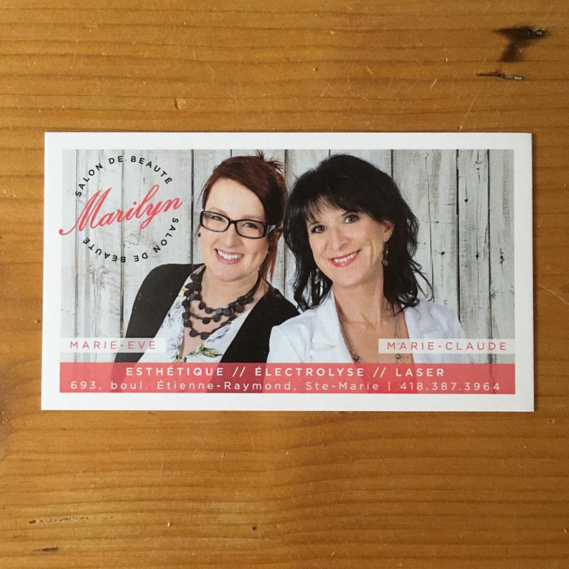 cartes d'affaires - Salon Marilyn | Kaylynne Johnson - web & design | www.kaylynnejohnson.com