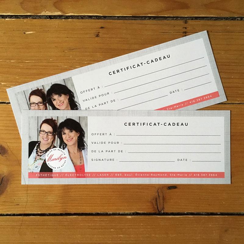 certificats cadeaux - Salon Marilyn | Kaylynne Johnson - web & design | www.kaylynnejohnson.com