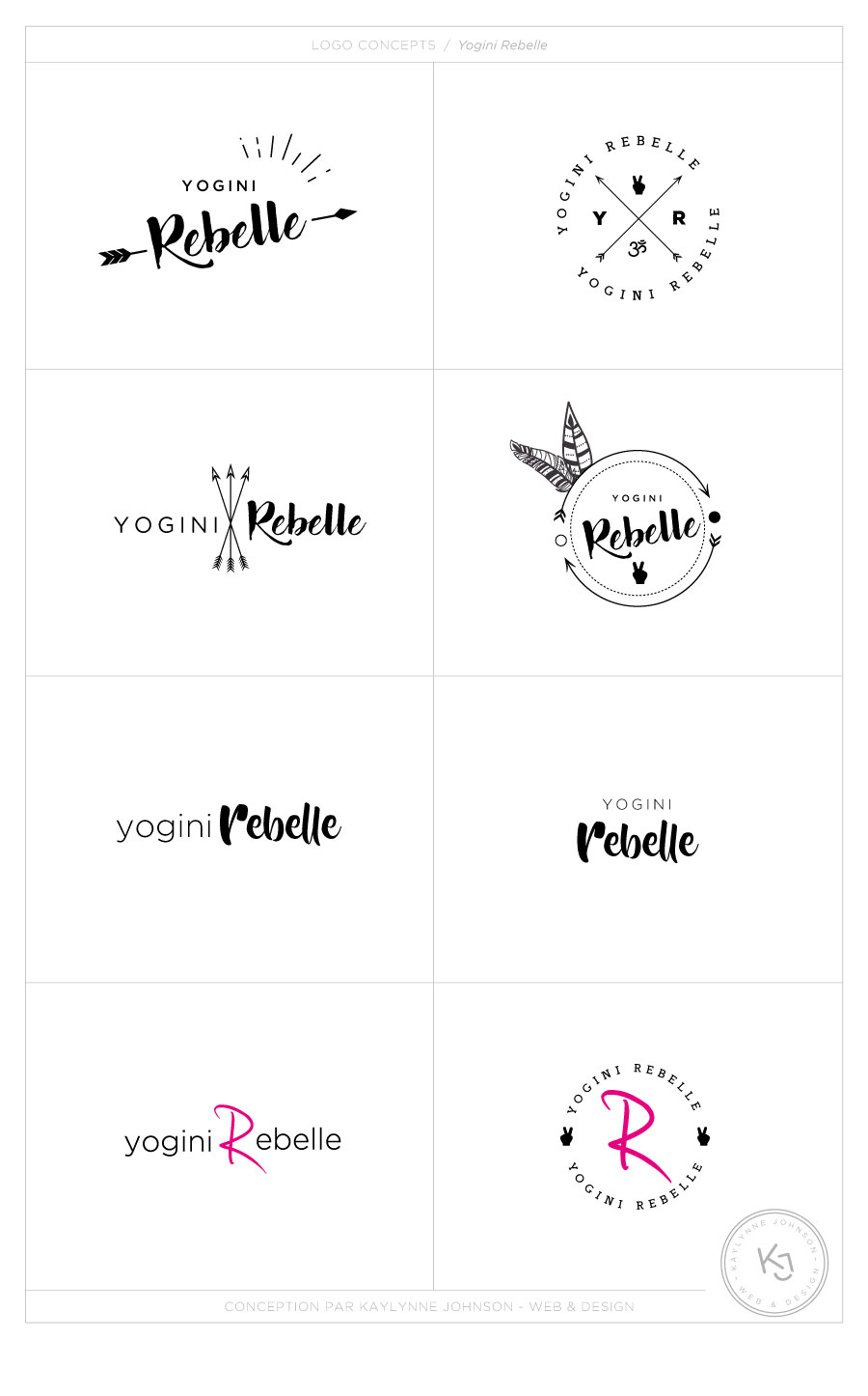 Yogini Rebelle - logo concepts - Branding | Design by Kaylynne Johnson - web & design | www.kaylynnejohnson.com