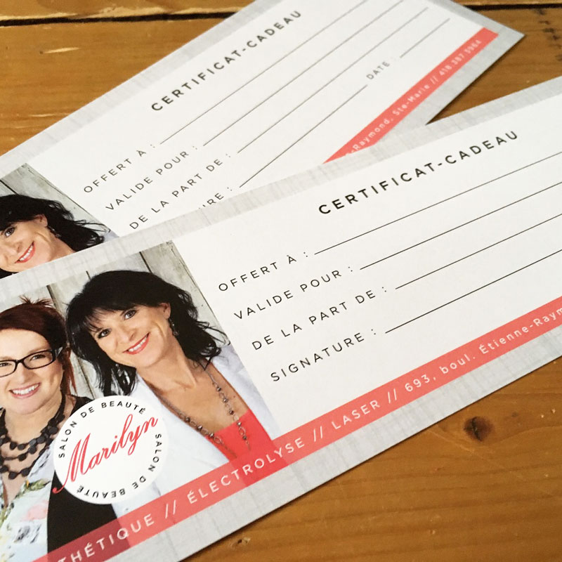certificats cadeaux - Salon Marilyn | Kaylynne Johnson - web & design | www.kaylynnejohnson.com