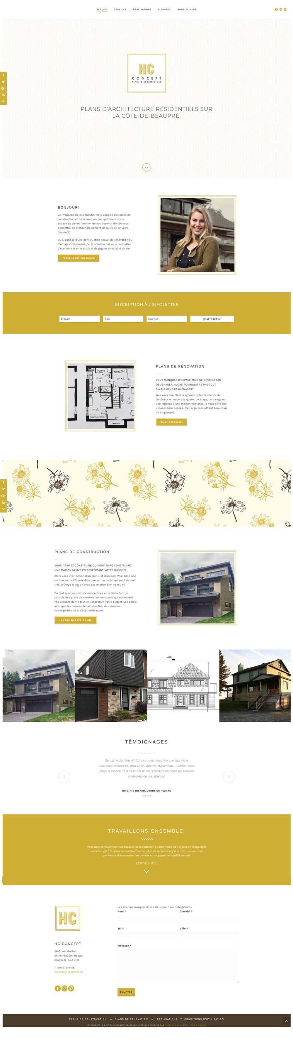 HC Concept - Une réalisation de Kaylynne Johnson - web & design