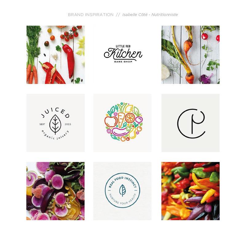 Mood board pour le branding de Isabelle Côté Nutritionniste - Branding par Kaylynne Johnson - web & design