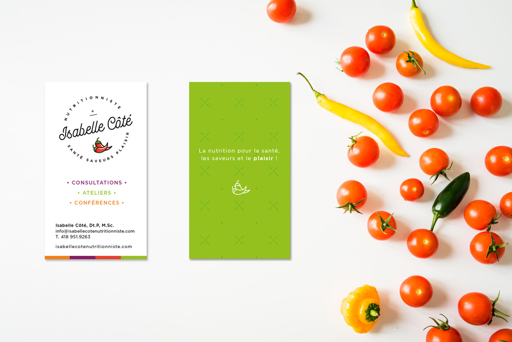 Cartes d'affaires Isabelle Côté Nutritionniste - Branding par Kaylynne Johnson - web & design